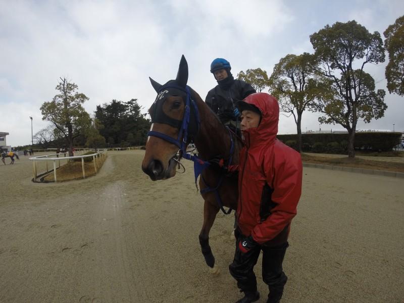メイショウシマナミちゃんと岩崎ジョッキー(レースは勝浦ジョッキーが騎乗)