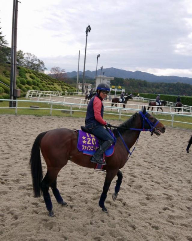 ファインニードルと鵜木助手。GⅠ2勝馬を表す☆が2つのゼッケン着用です。